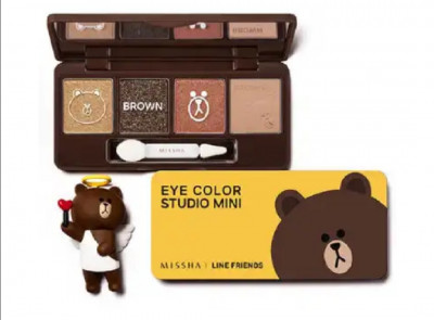 Тени для век Missha line friends edition Eye color studio Mini мишка